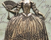 Marie Antoinette brass stamping, oxidized brass