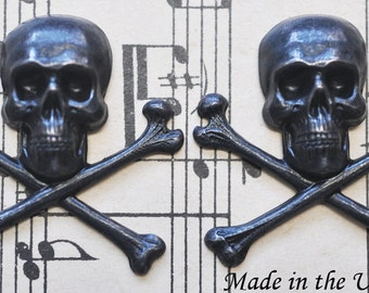 Medium Brass Skulls and Crossed Bones, Black Satin Finish, TWO