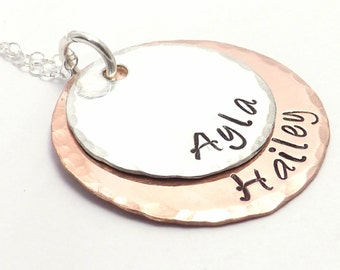 Hand Stamped Mixed Metal Mothers Necklace on Copper and Sterling Silver- Mothers Day Necklace