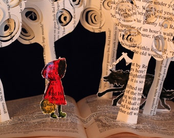 Little Red Riding Hood- 5x7 greeting card of an altered book sculpture fairytale