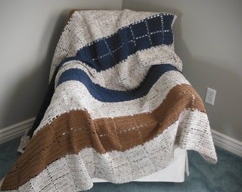 Blue and Dappled Cream striped Afghan