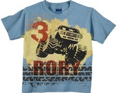 Monster Truck Number Shirt, Personalized Boys Light Blue Monster Truck Birthday T-Shirt, Top