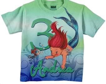 Girls Mermaid Shirt, Personalized Mermaid Birthday T-Shirt, Little Mermaid Top, Personalized Mermaid T-Shirt, Children's Clothing