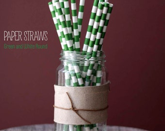 25 Green and White Round Pattern Paper Straws - Standard 7.75'' / 19.68cm