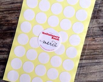Mini White Paper Stickers - 2.0cm round Label Sticker Seals - 200 Blanks per set