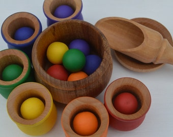 Balls and Cups 20 Pc. Deluxe Set  Montessori Sorting Counting Matching Wooden Sensory Toy