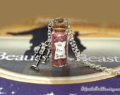 Beauty and the Beast Necklace, Be Our Guest Necklace Candelabra Lumiere Charm, Disney inspired Bottle Necklace, Angela Lansbury, Belle