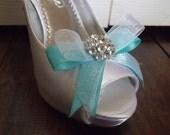 Wedding Bridal Shoe Clips - Shabby light Blue satin white organza - Rhinestones - Dainty and Chic - Double Bows - Bridesmaid Flower Girls
