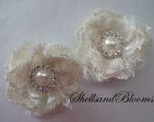 Wedding Bridal Hair Flowers - Natural Ivory Burlap Blossoms with Ivory Lace -   Pearl Rhinestone Cluster Centers - Alligator Clips - rustic