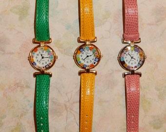 Wrist Watch with Venetian art glass face Millefiore