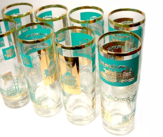 Bar ware. 8 Turquoise Gold Steamboat. Southern Comfort Promotional glassware. cooler size