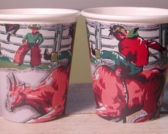 Vintage Cowboy Hot/Cold Paper Party Cups - Set of 12
