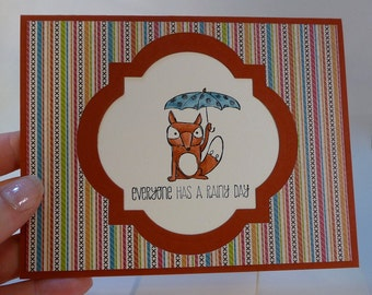 Rainy Day Note Card, thinking of you, cheer up note card, fox greeting card, blank inside, water colored, hand stamped card, unisex (C1216)