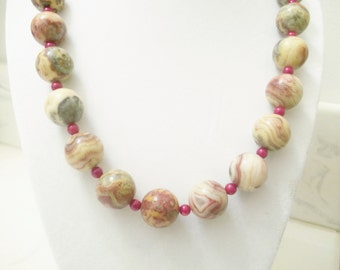Handmade Jewelry, Bead Necklace, Jasper Necklace, Red Tan Necklace, Crazy Jasper Beaded Necklace, Red Bamboo Coral Beaded Necklace, Beadwork