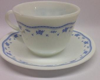 Vintage Corning Corelle Morning Blue Saucer Pyrex