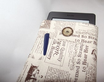 Kindle Cover, newspaper print, gift, linnen fabric,reading