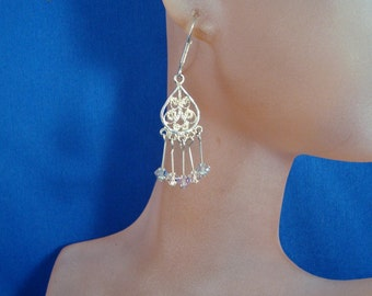 Chandelier Earrings in Silver and Crystal