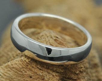 14K palladium white gold ring, 4mm x 1mm, half round, wedding band, wedding ring, mens wedding ring, mens wedding band, size up to 8
