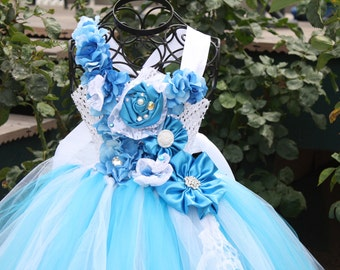 Turquoise waters lace,satin and tulle,tutu flower girl dress,weddings,birthday,pageant,beach weddings