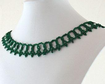 Dark Green Seed Bead Swarovski Necklace