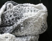 Oversized Thick Bulky Chunky Crochet Infinity Scarf Cowl Neckwarmer in Black and White Marble