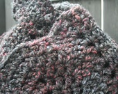 Oversized Thick Bulky Crochet Infinity Scarf Cowl Neckwarmer in Black and Multicoloured