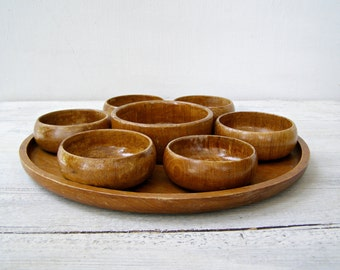Teak wood small bowls Serving set, Wood snack bowls, round wooden tray platter, Thailand Cottage Rustic chic Handcarved party serving dishes