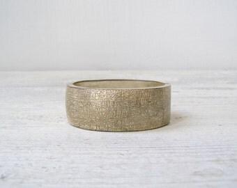 Boho Silver tone Etched ornate cuff Bracelet,  Retro modern bold clip bracelet, chunky statement jewelry, Urban Hippie Gypsy, Woman gift