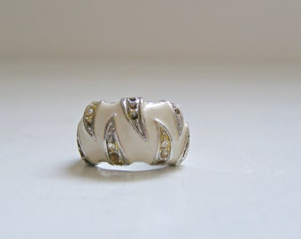 60s Enamel Rhinestone small ring, Retro white bold tiny Rung, Mid Century Retro Mad Men Inspired, Woman Mother gift, Evening Mod Jewelry