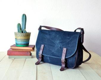"Waxed Canvas Messenger Bag in Black - Leather Strap - 13"" Laptop - Fathers Day Gift- Shoulder Bag - Men Messenger Bag Father's Day"