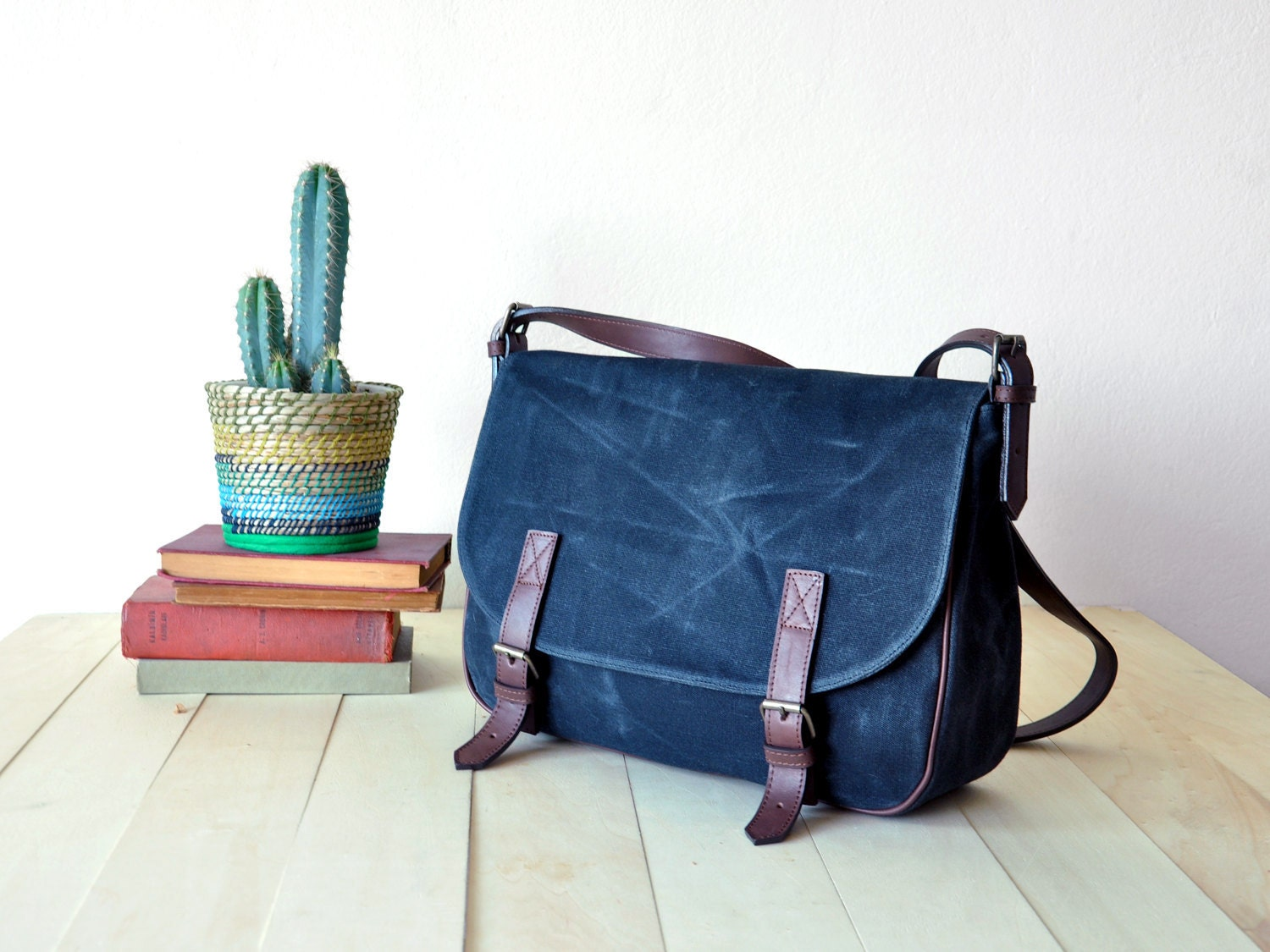 Waxed Canvas Messenger Bag in Olive Green Leather Strap