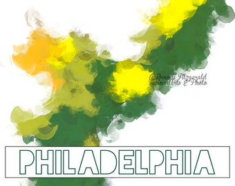 Philadelphia County Acrylic Paint Typography Product Options and Pricing via Dropdown Menu