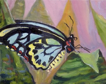 Original Small Format Art Oil Painting Butterfly and Leaves