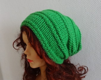 Knit Hat Slouchy women / men GREEN hat Men Women Knit Slouchy Beanie Knit Hat Chunky Knit Winter Fall Accessories Slouchy Knitted mens hats