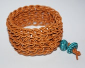 Caramel Leather Crochet Cuff Bracelet