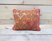 Indian Phulkari Pillow With Pink Velvet Back and Piping