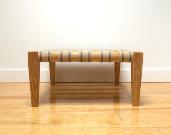 DayOttoman by Chez Boheme - Wooden Footstool with Jute Webbing