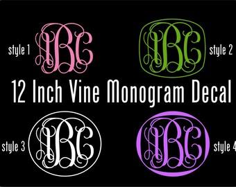 Vinyl Monogram Decal - 12 Inch Personalized Vinyl Decal - Vine Monogram Vinyl Car Window Decal -