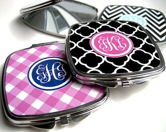 Compact Mirror - Personalized Compact Mirror - Gift for Her - Stocking Stuffer - Bridesmaid Gift - Monogram Mirror - Mini Mirror for Purse