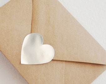silver metallic large heart stickers  (24 stickers)
