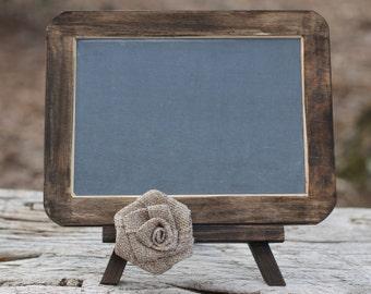 "Wedding Chalkboard Easel Set Burlap Rose, Slate Chalkboard, 4"" X 6"""
