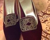 Baroque vintage deep red velvet luxury slippers w cut steel details Size 6 SALE!