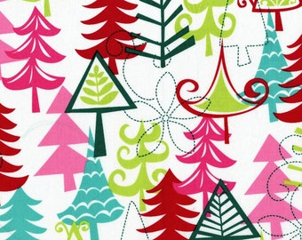 Christmas Fabric for quilt or craft Michael Miller Holidays Yule Trees in Multi Half yard