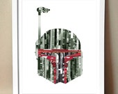 Art Print - Boba Fett - Star Wars Magazine Strip Art - 8x10 (Multiple Colors)