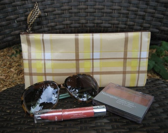 Zippered Oil Cloth Pouch-Retro Plaid Yellow and Brown Cosmetic Bag--Purse Organizer--Pencil pouch