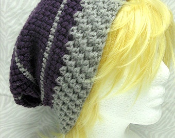 Purple And Grey Slouchy Hat