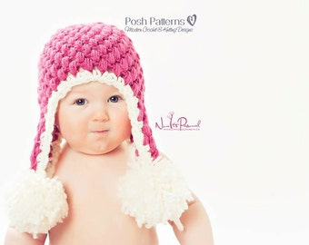 Crochet PATTERN - Crochet Hat Pattern - Crochet Patterns for Babies - Earflap Hat - Includes Baby, Toddler, Kids, Adult Sizes - PDF 104