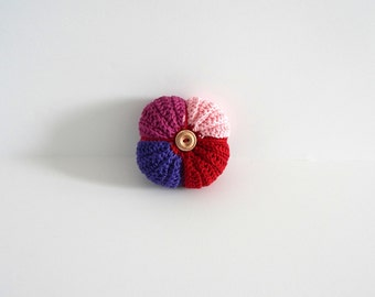 Crochet needle and pincushion in pink, magenta, purple and red cotton, handmade pincushion with red, purple, pink cotton, READY TO SHIP