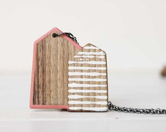 Long House Necklace  Wooden Necklace  Minimal Wood  Necklace