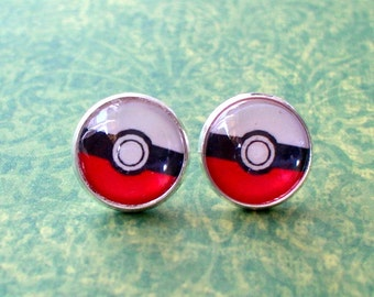 20 % OFF - Poke Ball Game Cartoon Icon sign Cabochon Stud Earrings,Earring Post,Cute Gift Idea
